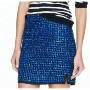 J. Crew Postage Stamp Mini Skirt in Indigo Tweed